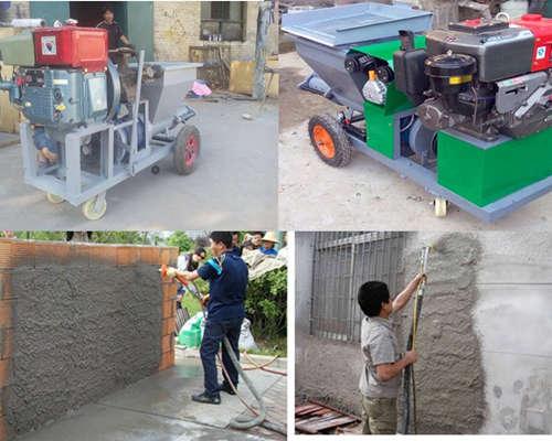 cement plaster spray machine application